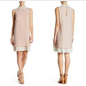 NWT Nanette Lepore pink sheath with cream underlay